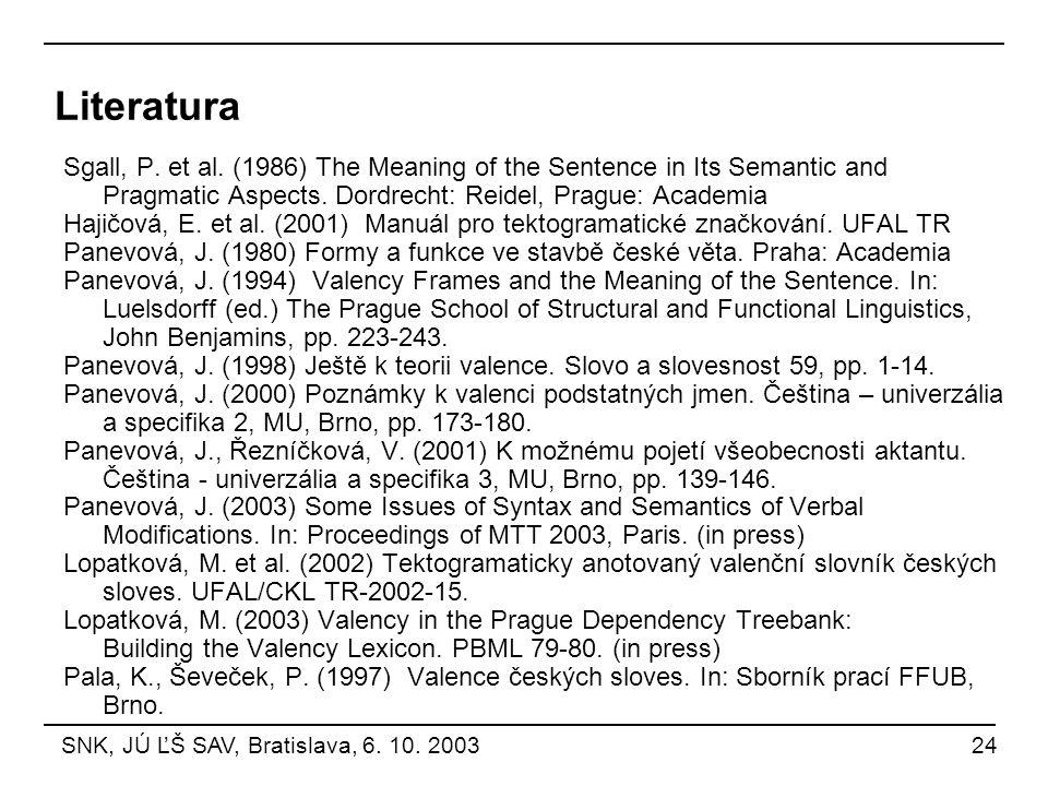 Literatura Sgall, P. et al. (1986) The Meaning of the Sentence in Its Semantic and Pragmatic Aspects. Dordrecht: Reidel, Prague: Academia Hajičová, E.