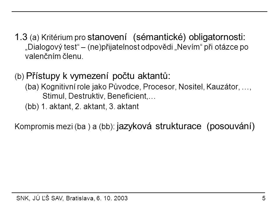 """1.3 (a) Kritérium pro stanovení (sémantické) obligatornosti: """"Dialogový test"""" – (ne)přijatelnost odpovědi """"Nevím"""" při otázce po valenčním členu. (b) P"""