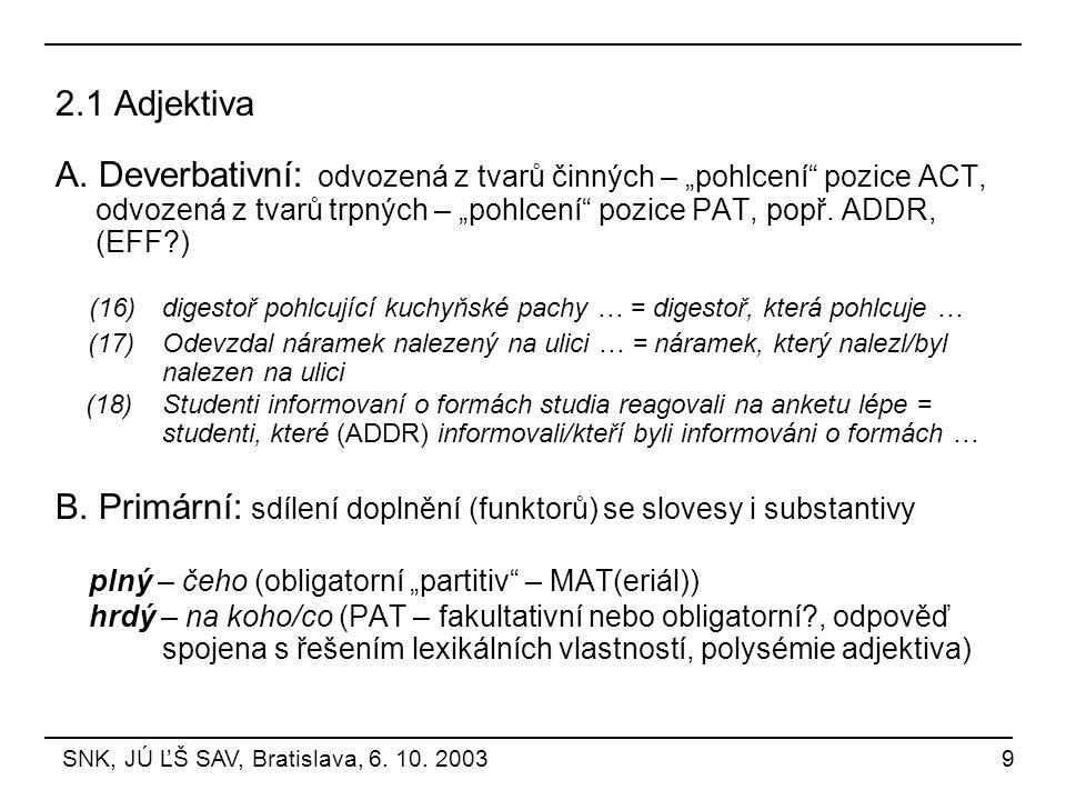 """2.1 Adjektiva A. Deverbativní: odvozená z tvarů činných – """"pohlcení"""" pozice ACT, odvozená z tvarů trpných – """"pohlcení"""" pozice PAT, popř. ADDR, (EFF?)"""