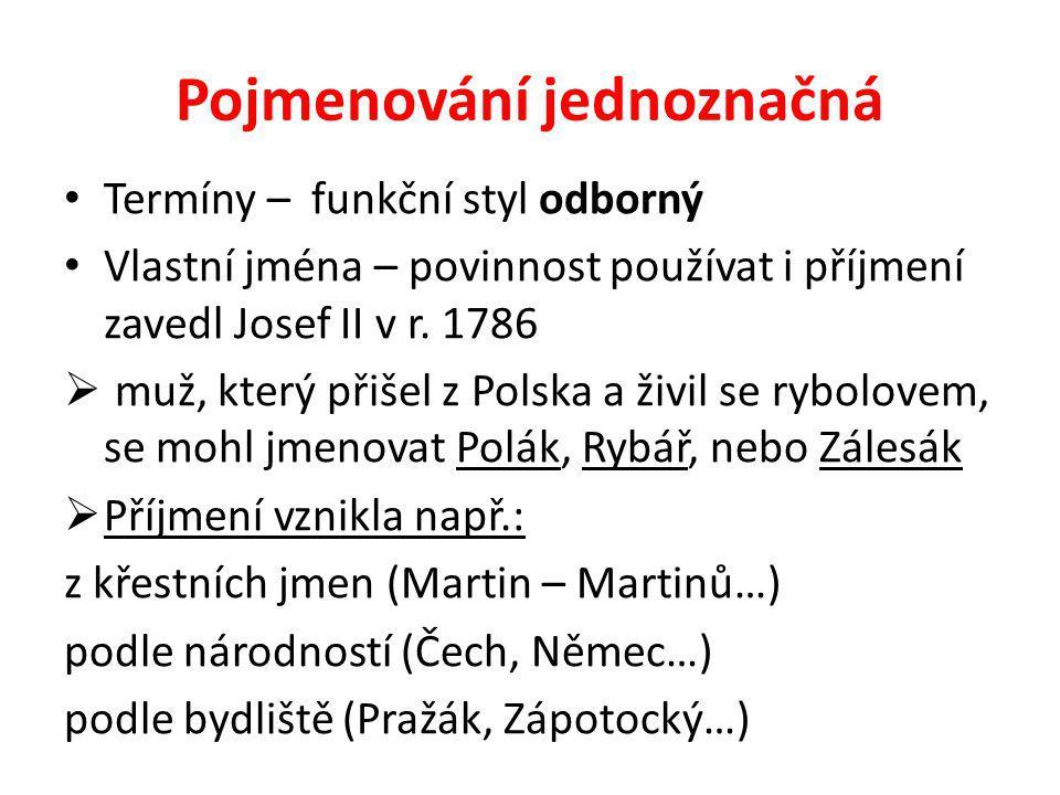 Pojmenování jednoznačná Termíny – funkční styl odborný Vlastní jména – povinnost používat i příjmení zavedl Josef II v r. 1786  muž, který přišel z P