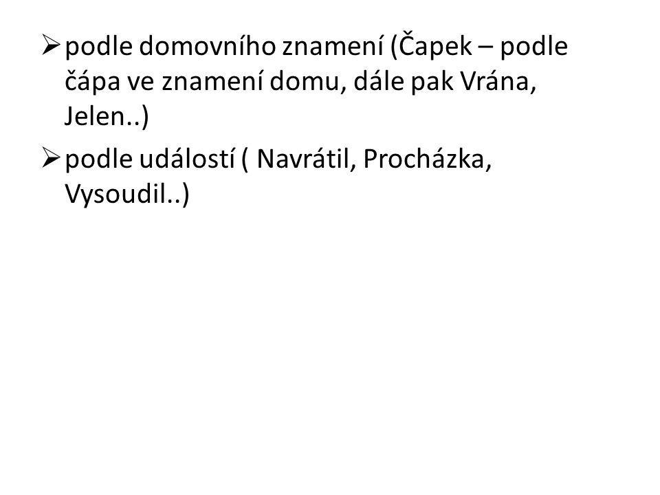  podle domovního znamení (Čapek – podle čápa ve znamení domu, dále pak Vrána, Jelen..)  podle událostí ( Navrátil, Procházka, Vysoudil..)