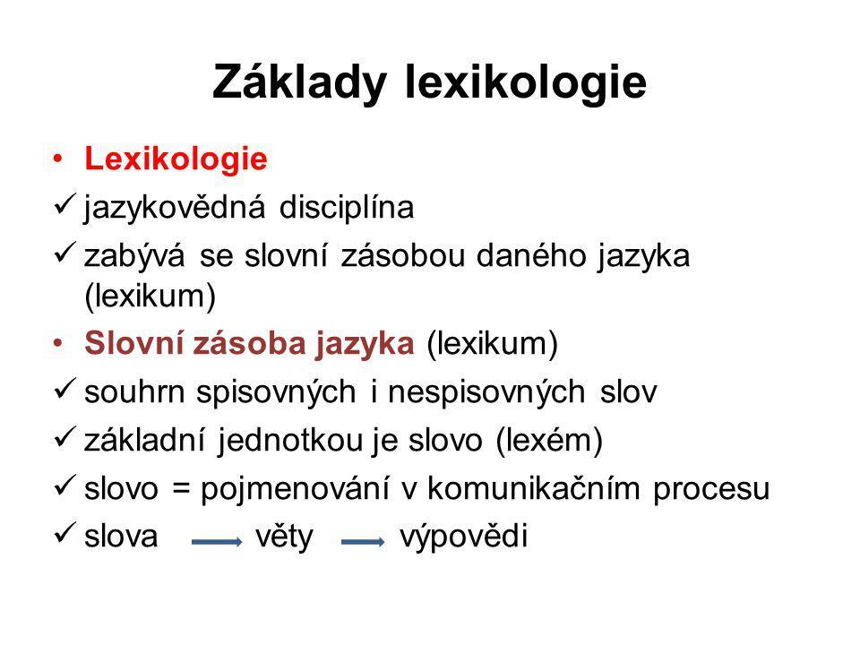 Základy lexikologie Lexikologie jazykovědná disciplína zabývá se slovní zásobou daného jazyka (lexikum) Slovní zásoba jazyka (lexikum) souhrn spisovný