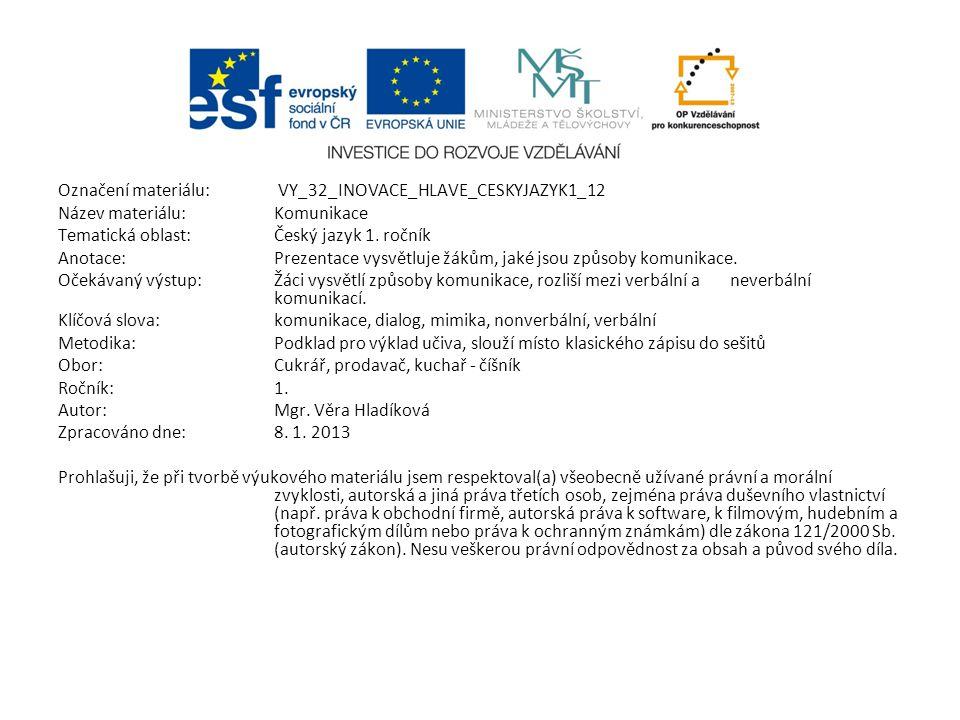 Označení materiálu: VY_32_INOVACE_HLAVE_CESKYJAZYK1_12 Název materiálu:Komunikace Tematická oblast:Český jazyk 1. ročník Anotace:Prezentace vysvětluje
