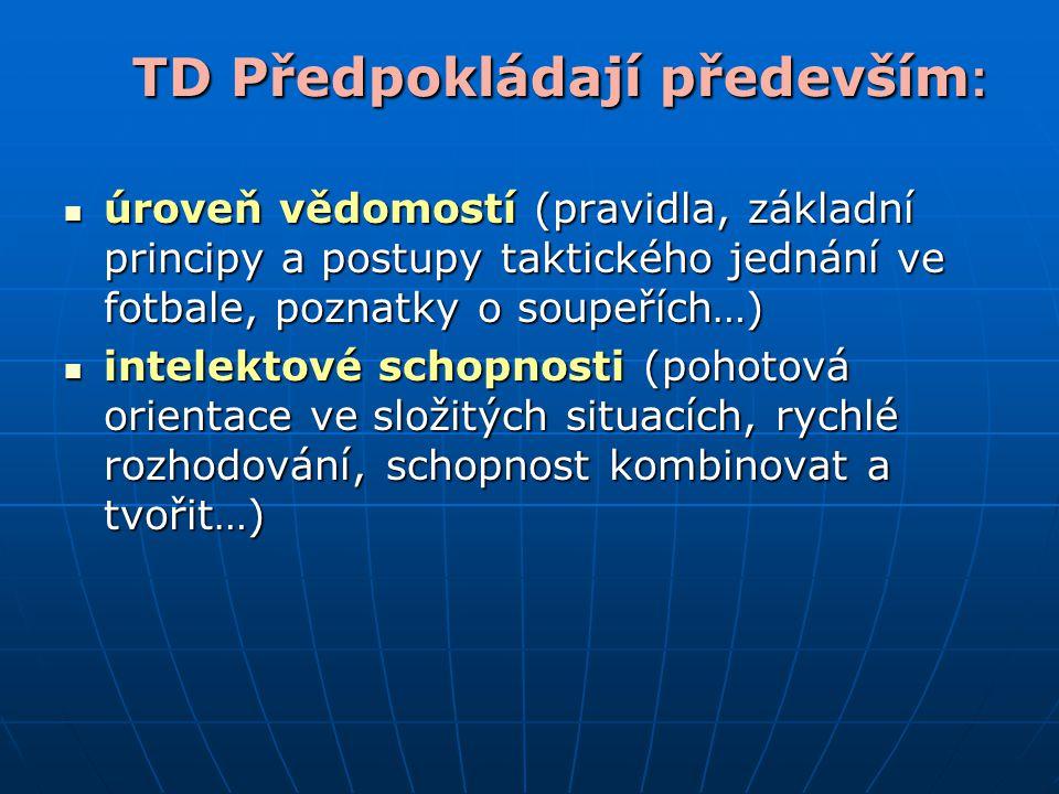TD Předpokládají především : úroveň vědomostí (pravidla, základní principy a postupy taktického jednání ve fotbale, poznatky o soupeřích…) úroveň vědo