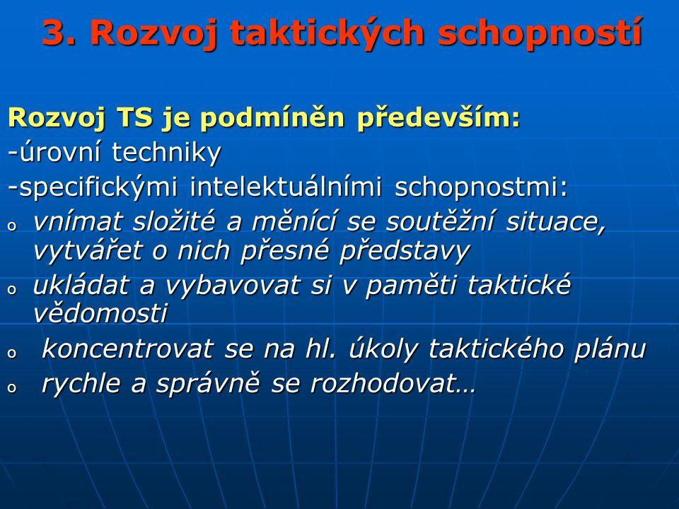 3. Rozvoj taktických schopností Rozvoj TS je podmíněn především: -úrovní techniky -specifickými intelektuálními schopnostmi: o vnímat složité a měnící