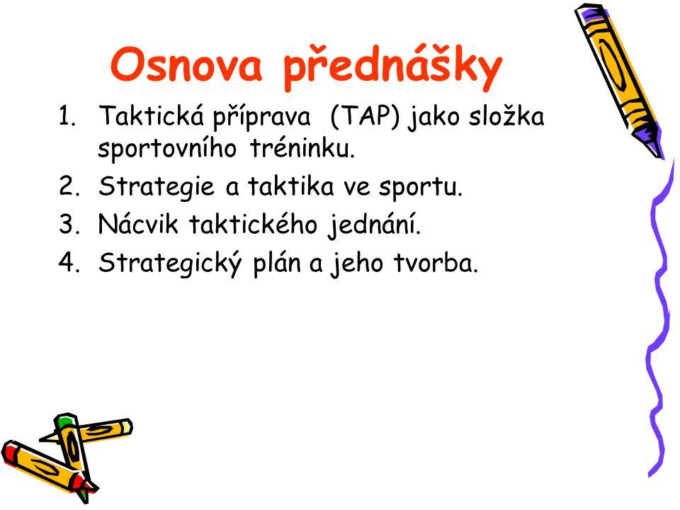 Osnova přednášky 1.Taktická příprava (TAP) jako složka sportovního tréninku. 2.Strategie a taktika ve sportu. 3.Nácvik taktického jednání. 4.Strategic