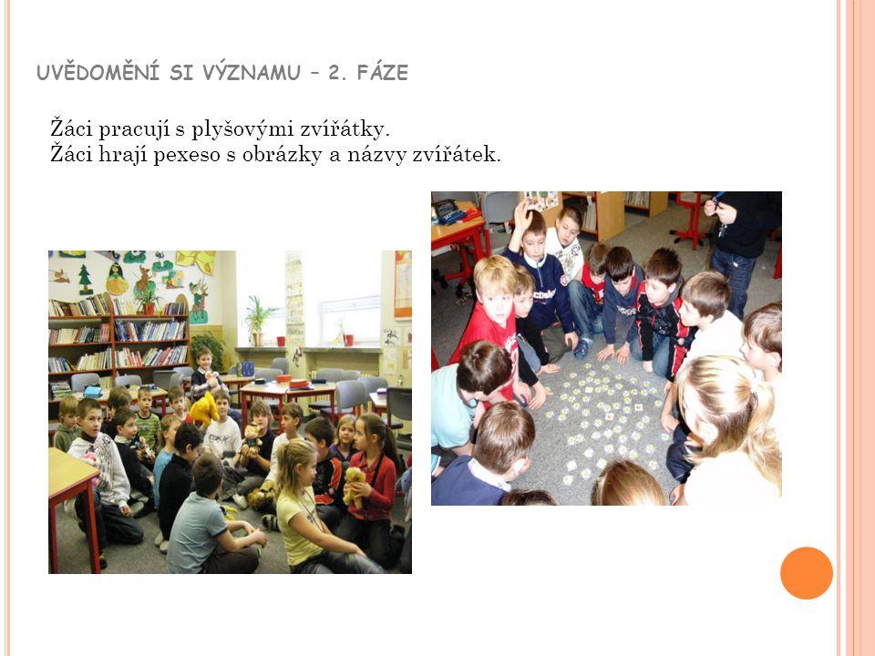 UVĚDOMĚNÍ SI VÝZNAMU – 2. FÁZE Žáci pracují s plyšovými zvířátky. Žáci hrají pexeso s obrázky a názvy zvířátek.