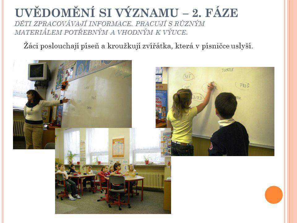 UVĚDOMĚNÍ SI VÝZNAMU – 2. FÁZE Žáci pracují s obrázkovým slovníčkem.