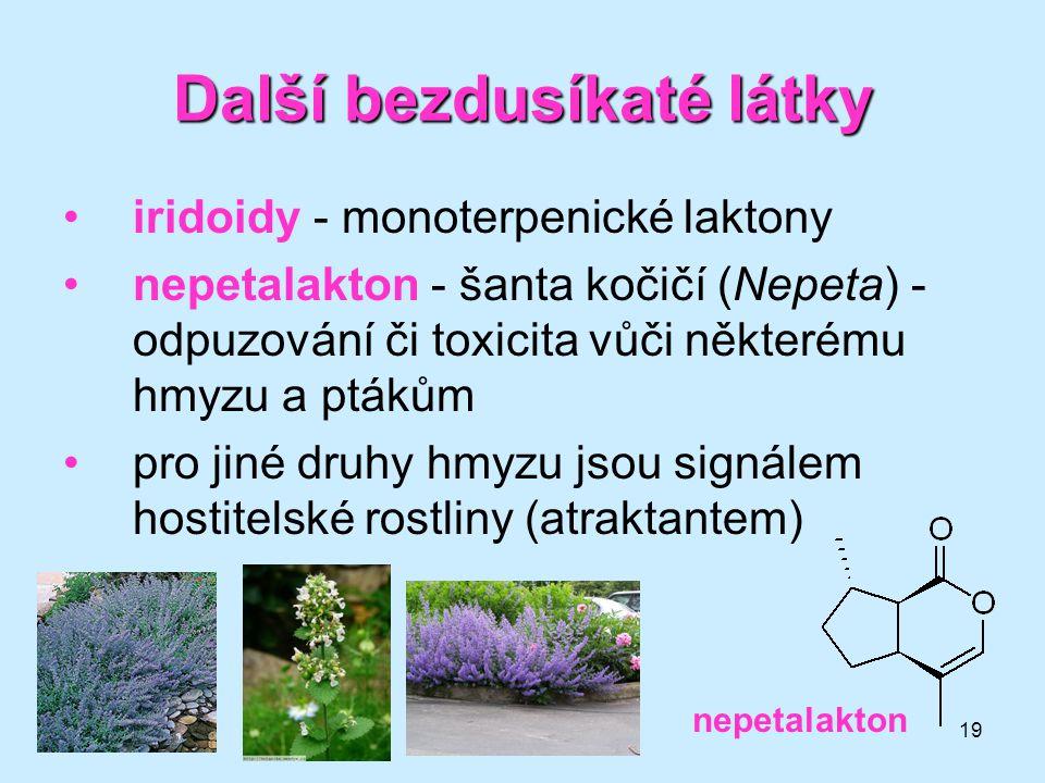 19 Další bezdusíkaté látky iridoidy - monoterpenické laktony nepetalakton - šanta kočičí (Nepeta) - odpuzování či toxicita vůči některému hmyzu a pták