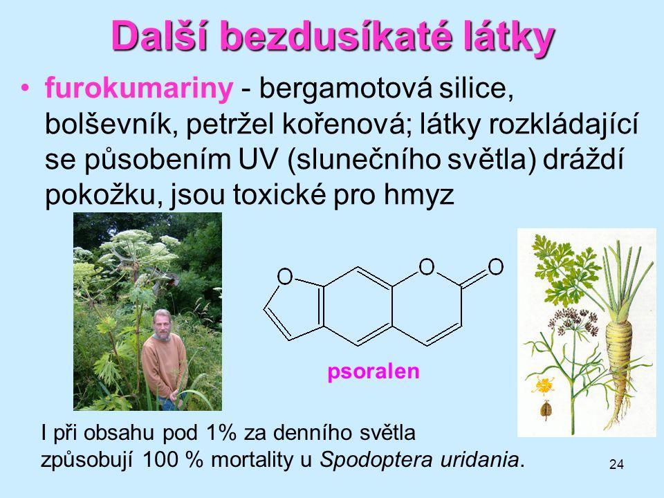 24 Další bezdusíkaté látky furokumariny - bergamotová silice, bolševník, petržel kořenová; látky rozkládající se působením UV (slunečního světla) dráž