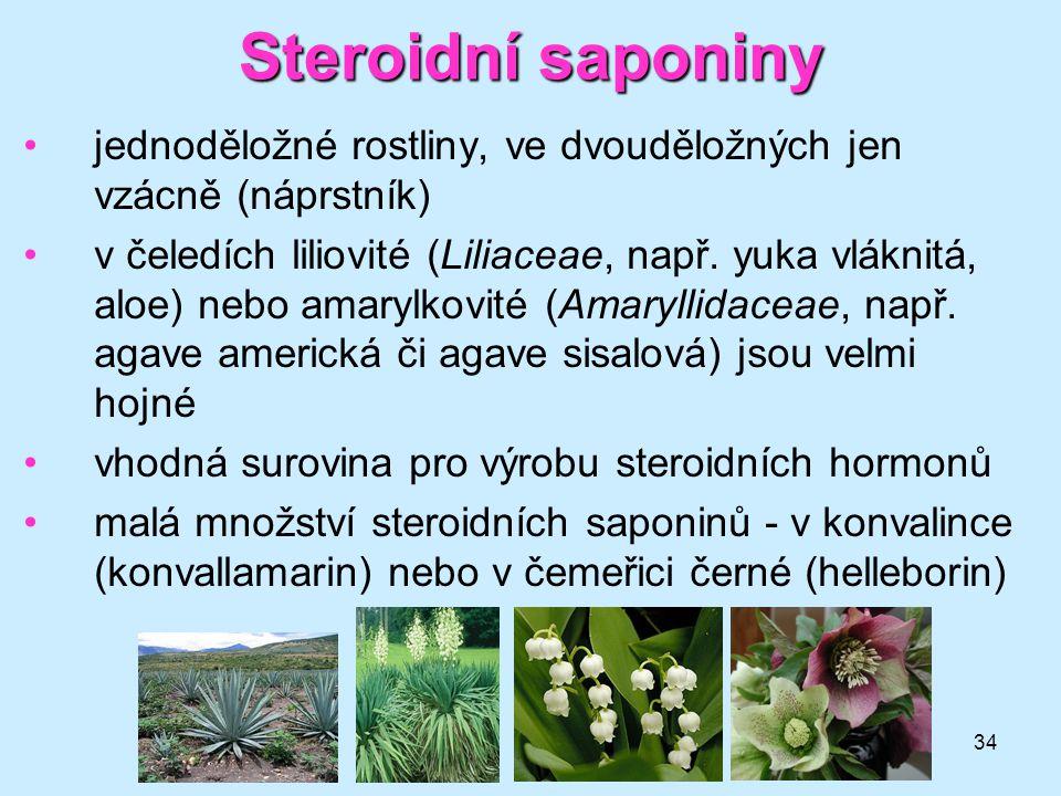 34 Steroidní saponiny jednoděložné rostliny, ve dvouděložných jen vzácně (náprstník) v čeledích liliovité (Liliaceae, např. yuka vláknitá, aloe) nebo