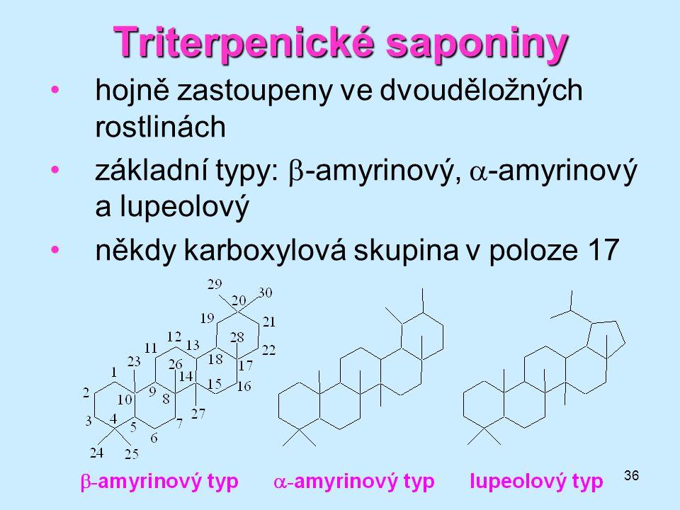 36 Triterpenické saponiny hojně zastoupeny ve dvouděložných rostlinách základní typy:  -amyrinový,  -amyrinový a lupeolový někdy karboxylová skupina