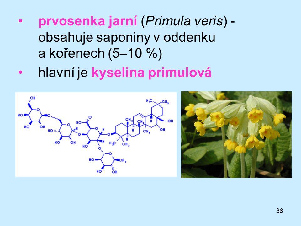38 prvosenka jarní (Primula veris) - obsahuje saponiny v oddenku a kořenech (5–10 %) hlavní je kyselina primulová