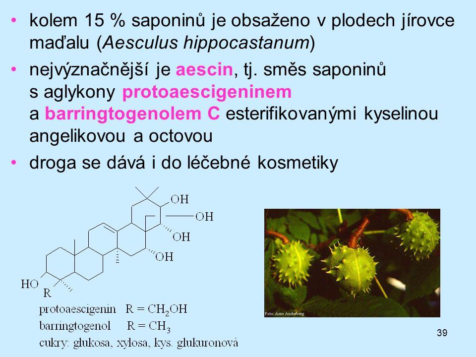 39 kolem 15 % saponinů je obsaženo v plodech jírovce maďalu (Aesculus hippocastanum) nejvýznačnější je aescin, tj. směs saponinů s aglykony protoaesci