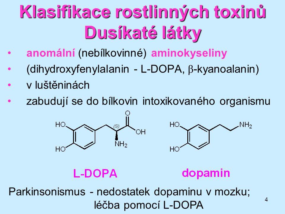 4 Klasifikace rostlinných toxinů Dusíkaté látky anomální (nebílkovinné) aminokyseliny (dihydroxyfenylalanin - L-DOPA, β -kyanoalanin) v luštěninách za