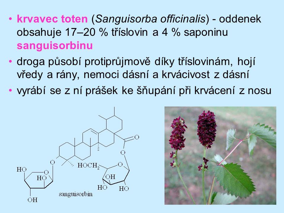 42 krvavec toten (Sanguisorba officinalis) - oddenek obsahuje 17–20 % tříslovin a 4 % saponinu sanguisorbinu droga působí protiprůjmově díky tříslovin