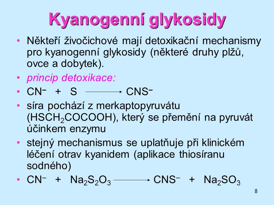 8 Někteří živočichové mají detoxikační mechanismy pro kyanogenní glykosidy (některé druhy plžů, ovce a dobytek). princip detoxikace: CN – + SCNS – sír