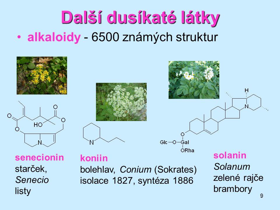 9 Další dusíkaté látky alkaloidy - 6500 známých struktur solanin Solanum zelené rajče brambory koniin bolehlav, Conium (Sokrates) isolace 1827, syntéz