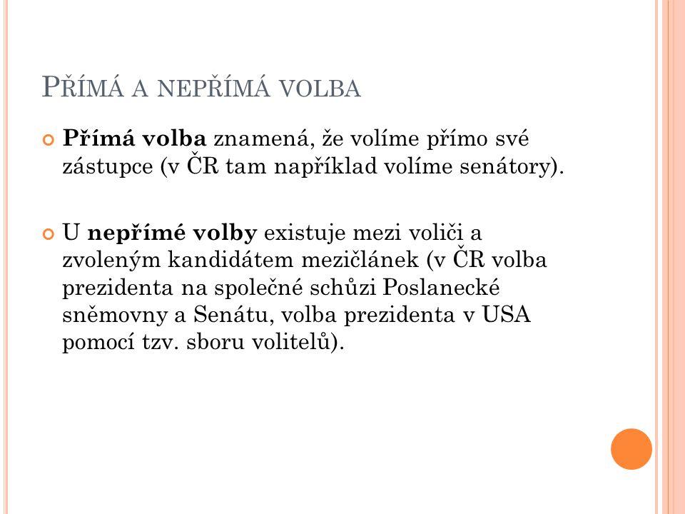 P ŘÍMÁ A NEPŘÍMÁ VOLBA Přímá volba znamená, že volíme přímo své zástupce (v ČR tam například volíme senátory).