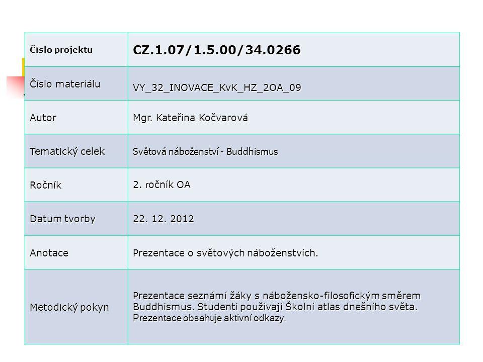 Číslo projektu CZ.1.07/1.5.00/34.0266 Číslo materiálu VY_32_INOVACE_KvK_HZ_2OA_09 Autor Mgr. Kateřina Kočvarová Tematický celek Světová náboženství -