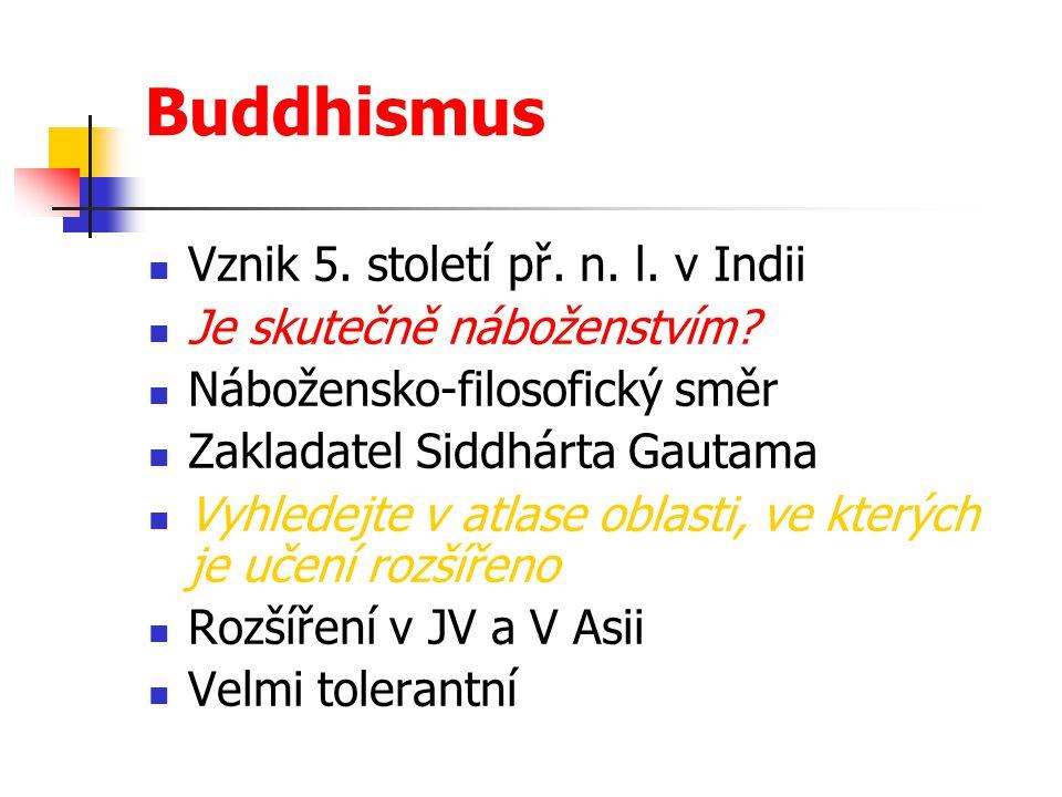 Buddhismus Vznik 5. století př. n. l. v Indii Je skutečně náboženstvím? Nábožensko-filosofický směr Zakladatel Siddhárta Gautama Vyhledejte v atlase o