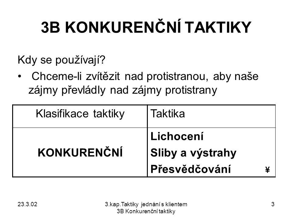 23.3.023.kap.Taktiky jednání s klientem 3B Konkurenční taktiky 4 OBSAH KONKURENČNÍCH TAKTIK Lichocení..