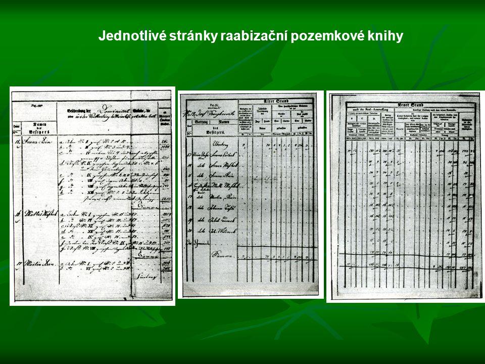 Jednotlivé stránky raabizační pozemkové knihy