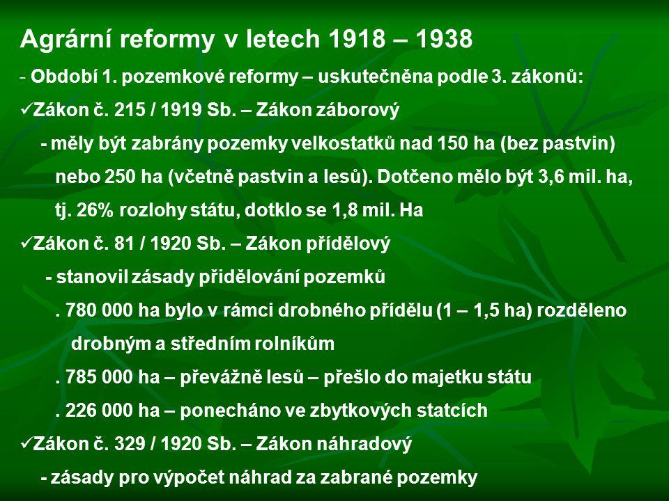 Agrární reformy v letech 1918 – 1938 - Období 1. pozemkové reformy – uskutečněna podle 3. zákonů: Zákon č. 215 / 1919 Sb. – Zákon záborový - měly být