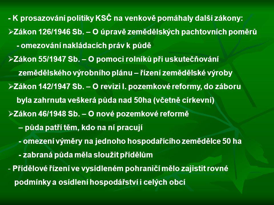 - K prosazování politiky KSČ na venkově pomáhaly další zákony:  Zákon 126/1946 Sb. – O úpravě zemědělských pachtovních poměrů - omezování nakládacích