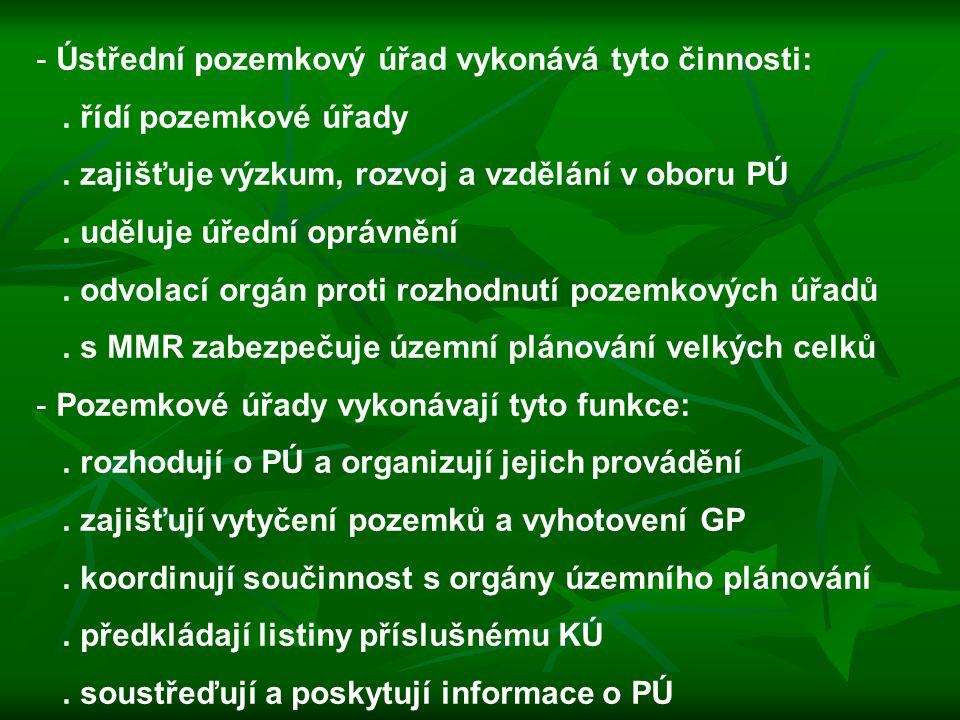 - Ústřední pozemkový úřad vykonává tyto činnosti:. řídí pozemkové úřady. zajišťuje výzkum, rozvoj a vzdělání v oboru PÚ. uděluje úřední oprávnění. odv