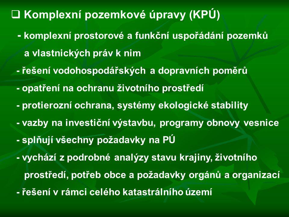 Komplexní pozemkové úpravy (KPÚ) - komplexní prostorové a funkční uspořádání pozemků a vlastnických práv k nim - řešení vodohospodářských a dopravní
