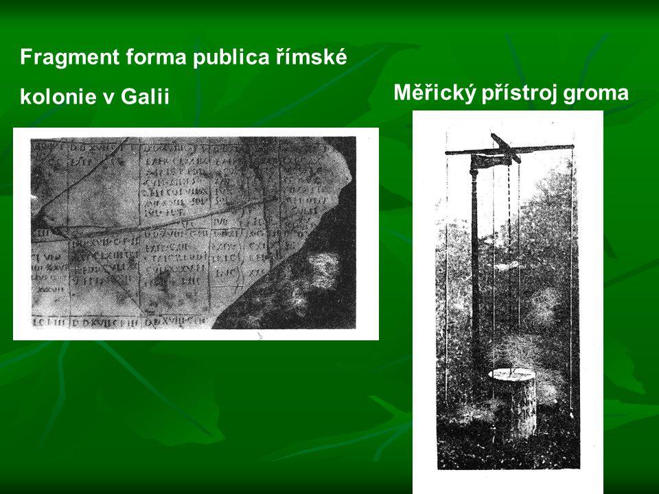 Fragment forma publica římské kolonie v Galii Měřický přístroj groma