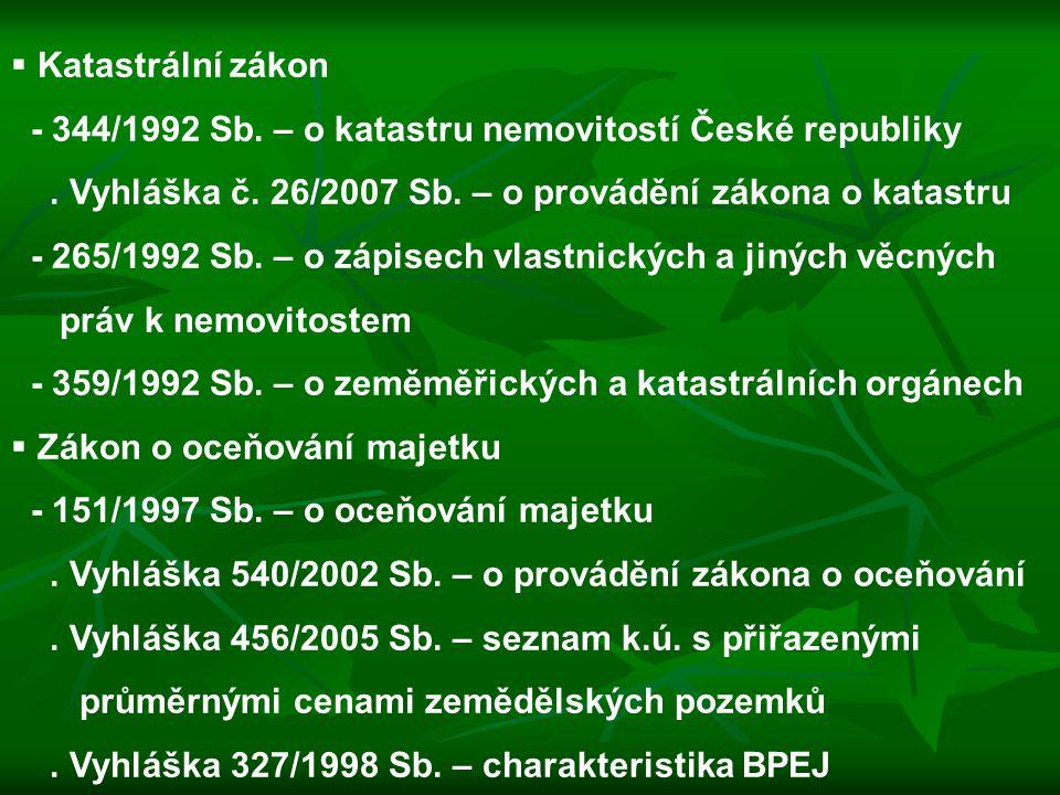  Katastrální zákon - 344/1992 Sb. – o katastru nemovitostí České republiky. Vyhláška č. 26/2007 Sb. – o provádění zákona o katastru - 265/1992 Sb. –
