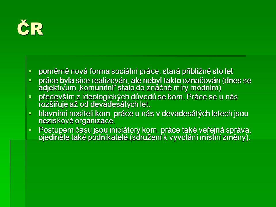 """ČR  poměrně nová forma sociální práce, stará přibližně sto let  práce byla sice realizován, ale nebyl takto označován (dnes se adjektivum """"komunitní"""