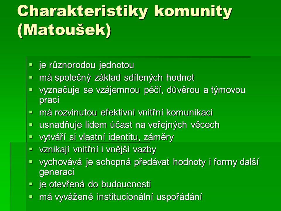 Charakteristiky komunity (Matoušek)  je různorodou jednotou  má společný základ sdílených hodnot  vyznačuje se vzájemnou péčí, důvěrou a týmovou pr