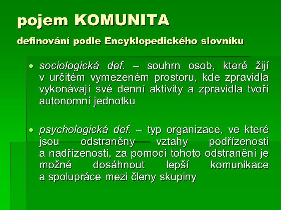 pojem KOMUNITA podle Velkého sociologického slovníku:  pospolitá skupina, která má zvláštní vnitřní vazby, zařazení skupiny do širšího sociálního prostředí je také charakteristické (kláštery, hippies, intencionální komunity, které můžeme pozorovat v současnosti – propagují meditaci, duchovní hodnoty, alternativní zemědělství a ekologii.