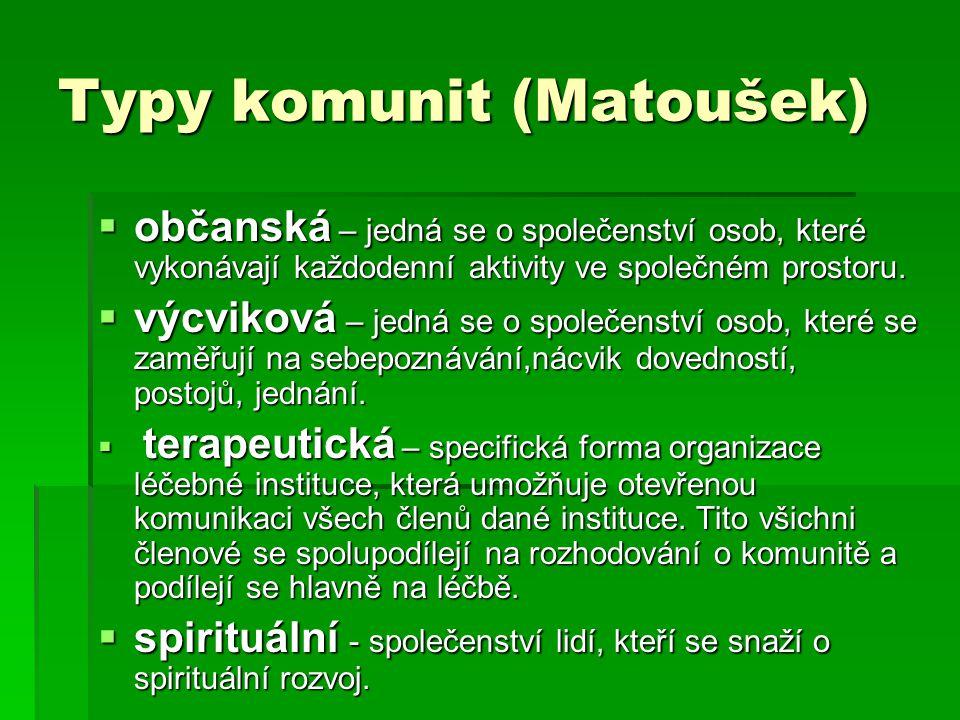 Typy komunit (Matoušek)  občanská – jedná se o společenství osob, které vykonávají každodenní aktivity ve společném prostoru.  výcviková – jedná se