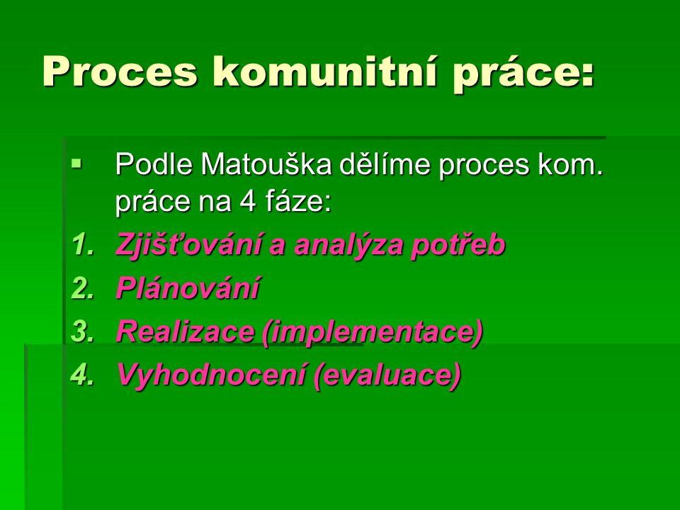 Proces komunitní práce:  Podle Matouška dělíme proces kom. práce na 4 fáze: 1.Zjišťování a analýza potřeb 2.Plánování 3.Realizace (implementace) 4.Vy