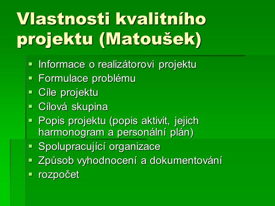 Vlastnosti kvalitního projektu (Matoušek)  Informace o realizátorovi projektu  Formulace problému  Cíle projektu  Cílová skupina  Popis projektu