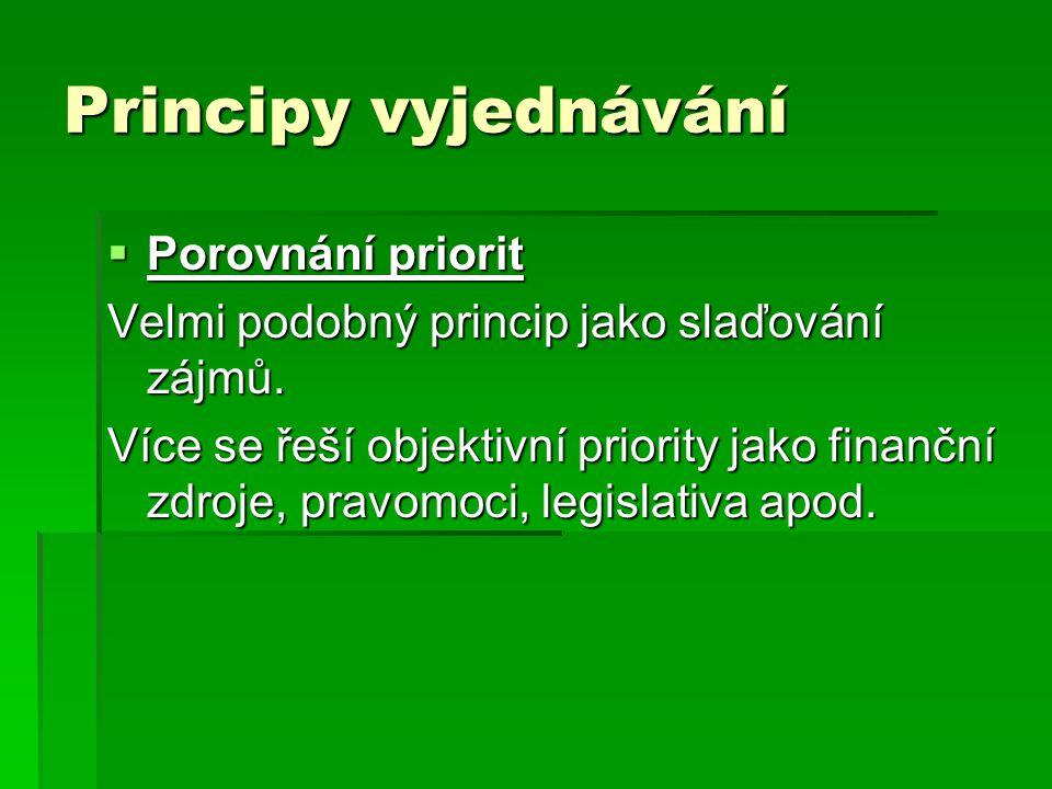 Principy vyjednávání  Porovnání priorit Velmi podobný princip jako slaďování zájmů. Více se řeší objektivní priority jako finanční zdroje, pravomoci,