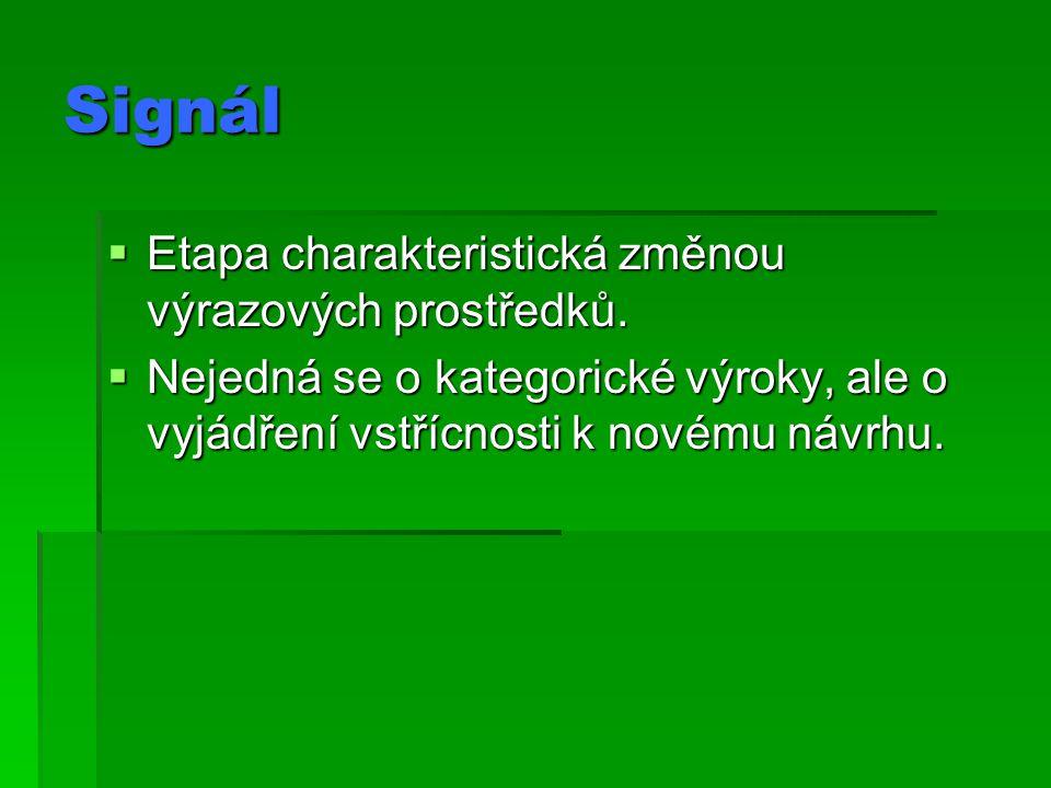 Signál  Etapa charakteristická změnou výrazových prostředků.  Nejedná se o kategorické výroky, ale o vyjádření vstřícnosti k novému návrhu.