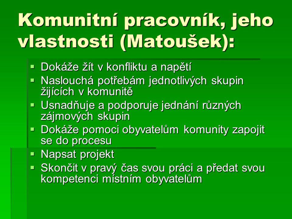 Komunitní pracovník, jeho vlastnosti (Matoušek):  Dokáže žít v konfliktu a napětí  Naslouchá potřebám jednotlivých skupin žijících v komunitě  Usna