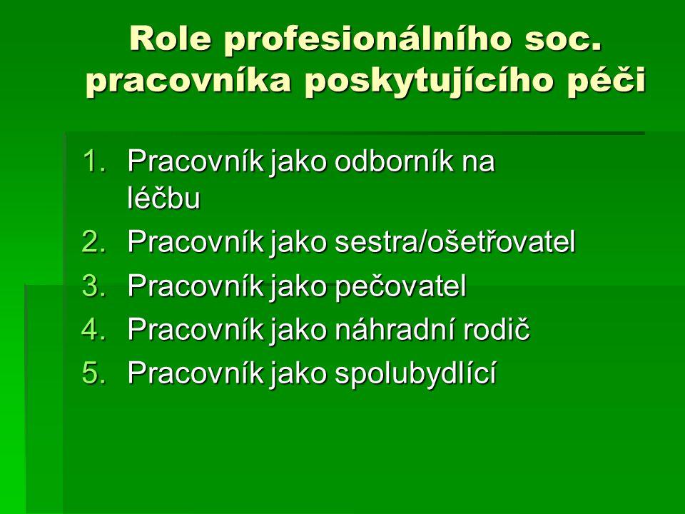 Role profesionálního soc. pracovníka poskytujícího péči 1.Pracovník jako odborník na léčbu 2.Pracovník jako sestra/ošetřovatel 3.Pracovník jako pečova