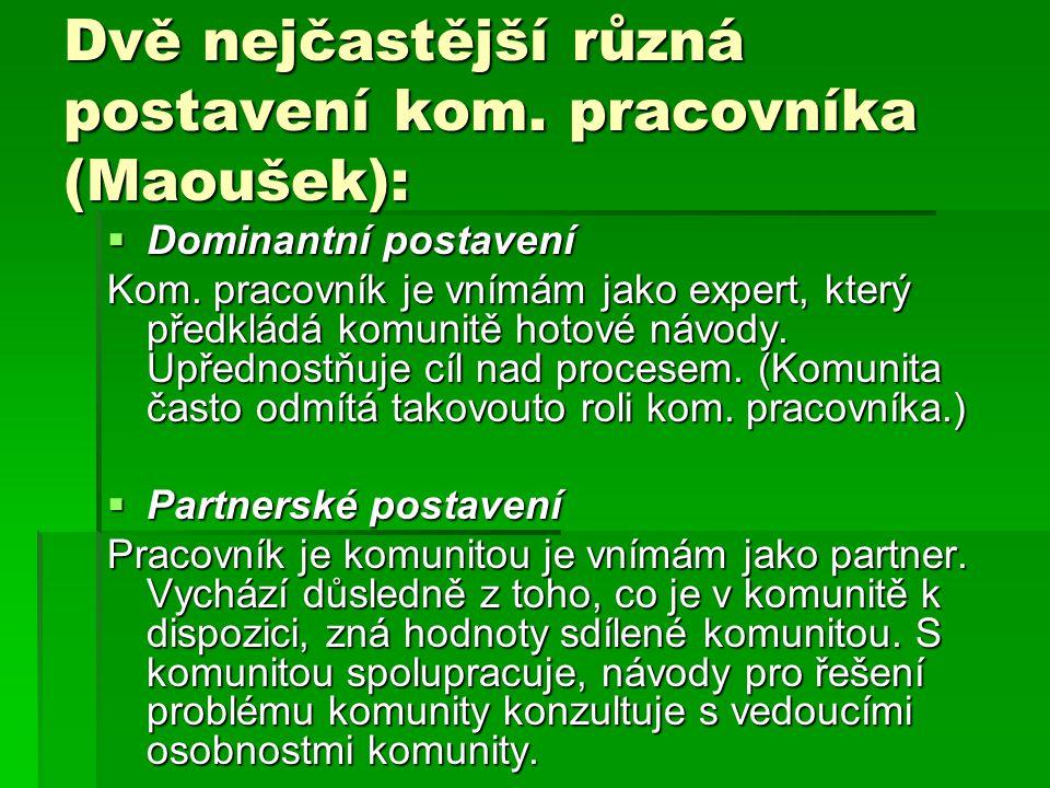Dvě nejčastější různá postavení kom. pracovníka (Maoušek):  Dominantní postavení Kom. pracovník je vnímám jako expert, který předkládá komunitě hotov