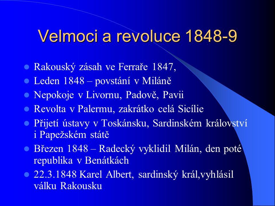 Velmoci a revoluce 1848-9 Rakouský zásah ve Ferraře 1847, Leden 1848 – povstání v Miláně Nepokoje v Livornu, Padově, Pavii Revolta v Palermu, zakrátko