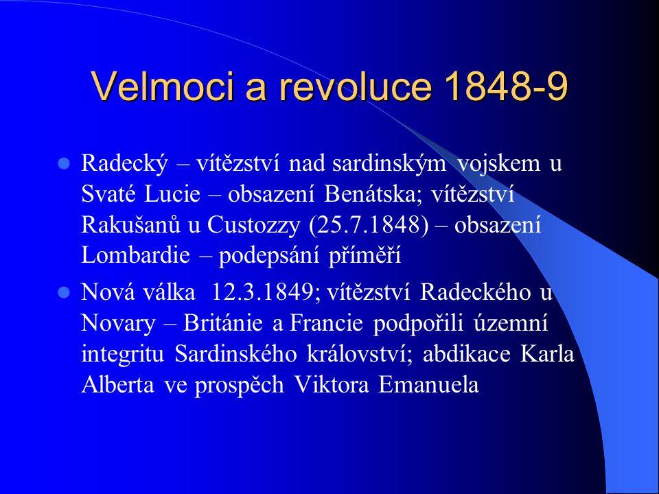 Velmoci a revoluce 1848-9 Radecký – vítězství nad sardinským vojskem u Svaté Lucie – obsazení Benátska; vítězství Rakušanů u Custozzy (25.7.1848) – ob