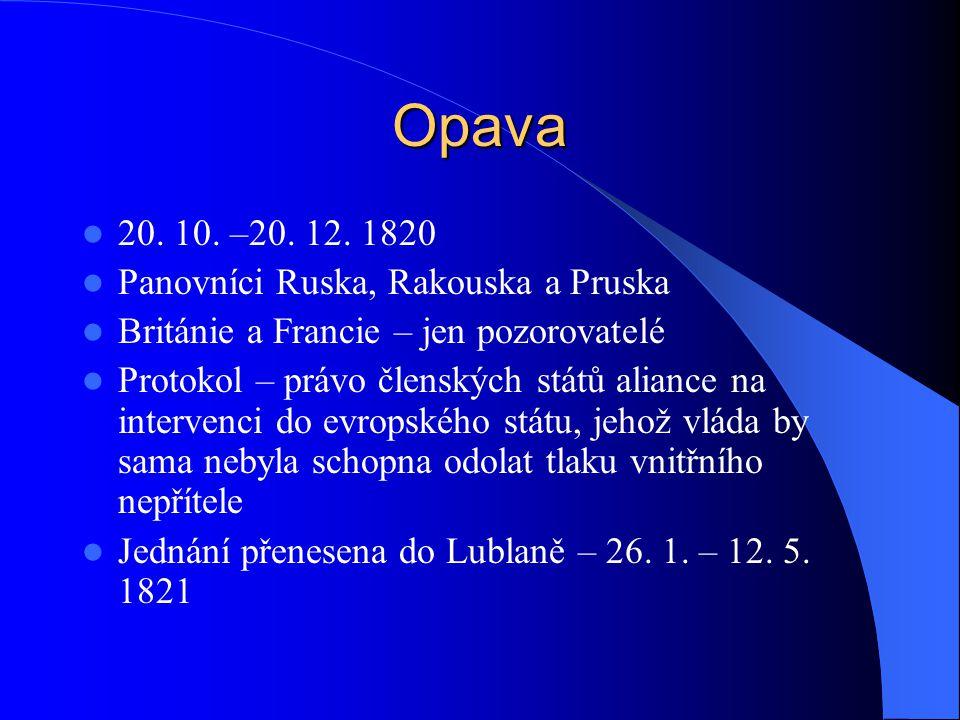 Opava 20. 10. –20. 12. 1820 Panovníci Ruska, Rakouska a Pruska Británie a Francie – jen pozorovatelé Protokol – právo členských států aliance na inter
