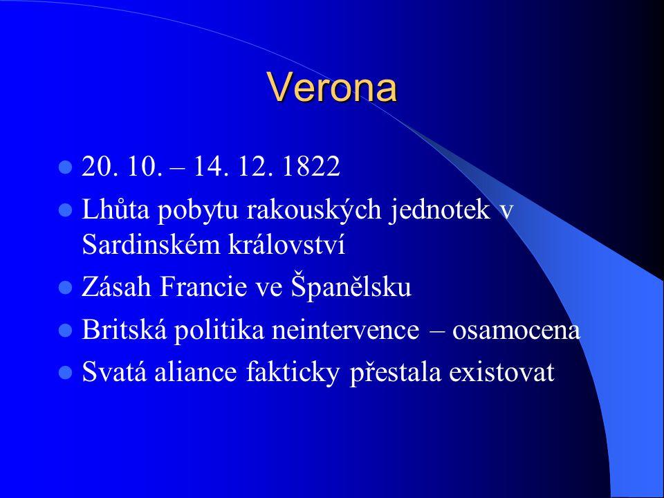Verona 20. 10. – 14. 12. 1822 Lhůta pobytu rakouských jednotek v Sardinském království Zásah Francie ve Španělsku Britská politika neintervence – osam