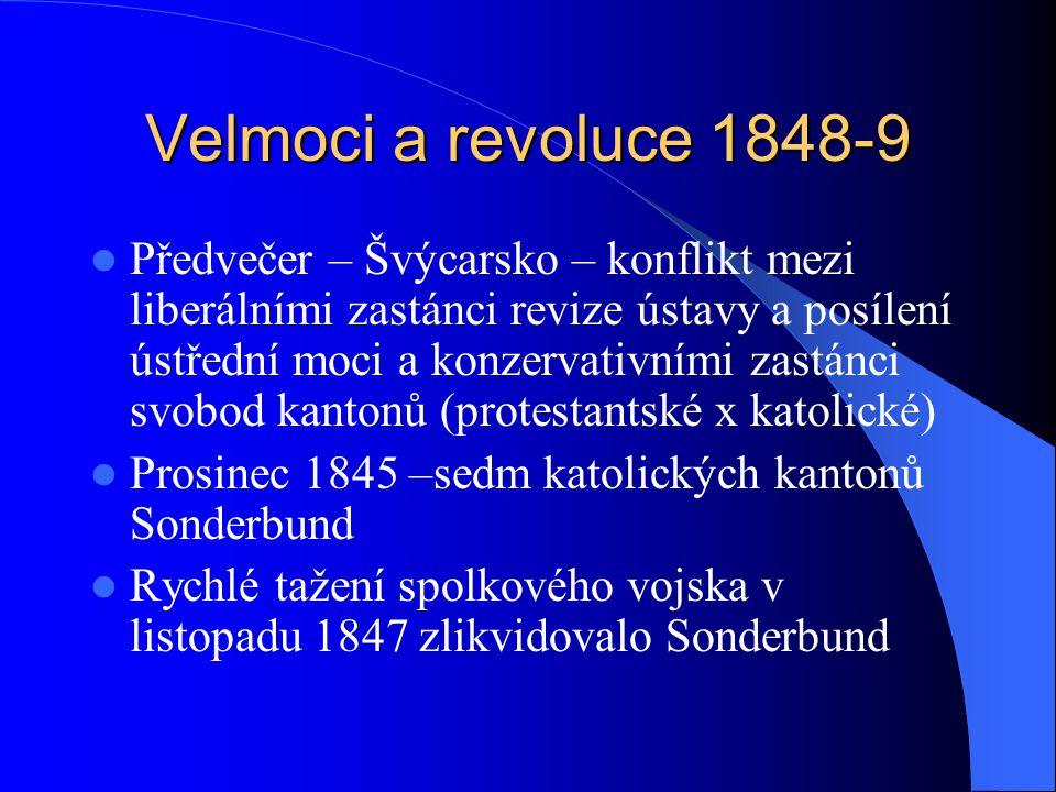 Velmoci a revoluce 1848-9 Rakouský zásah ve Ferraře 1847, Leden 1848 – povstání v Miláně Nepokoje v Livornu, Padově, Pavii Revolta v Palermu, zakrátko celá Sicílie Přijetí ústavy v Toskánsku, Sardinském království i Papežském státě Březen 1848 – Radecký vyklidil Milán, den poté republika v Benátkách 22.3.1848 Karel Albert, sardinský král,vyhlásil válku Rakousku