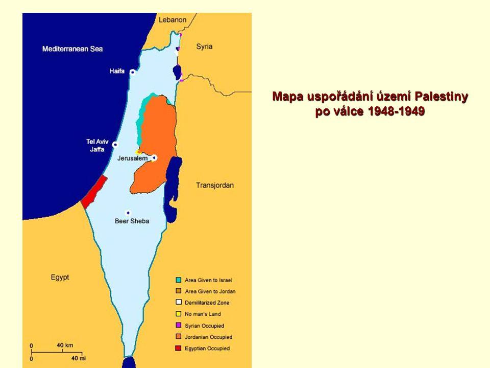 Mapa uspořádání území Palestiny po válce 1948-1949